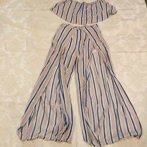 Hers & Mine Stripe Midriff Top and Open Leg Pant S